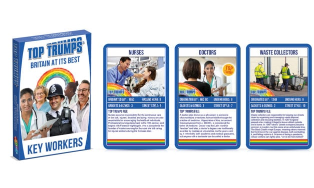 Top Trumps honours key Covid 19 workers in the UK